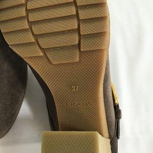 Prada Shoes - Prada Brown Suede heeled slides